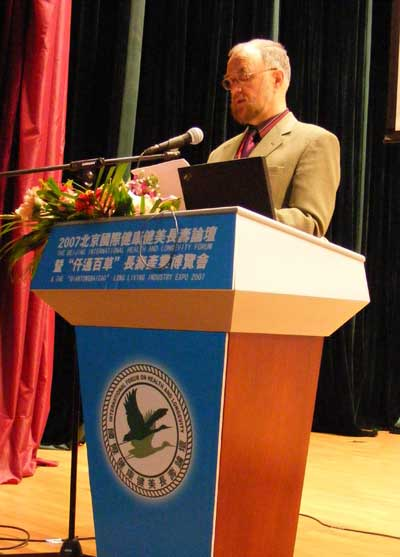 Professor Shanahan giving a paper at a Conference in Beijing.