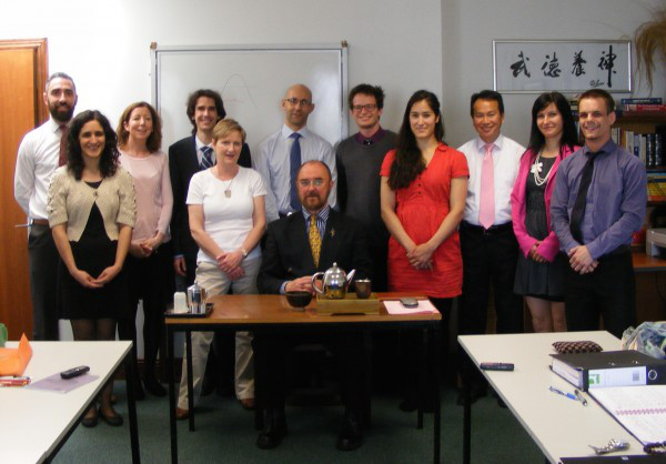 Director of the ICTCM Professor Shanahan with some of the students.